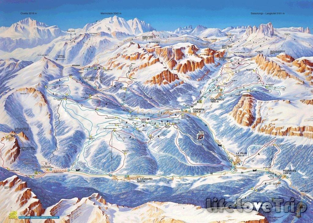 схема горнолыжных склонов Альта Бадия