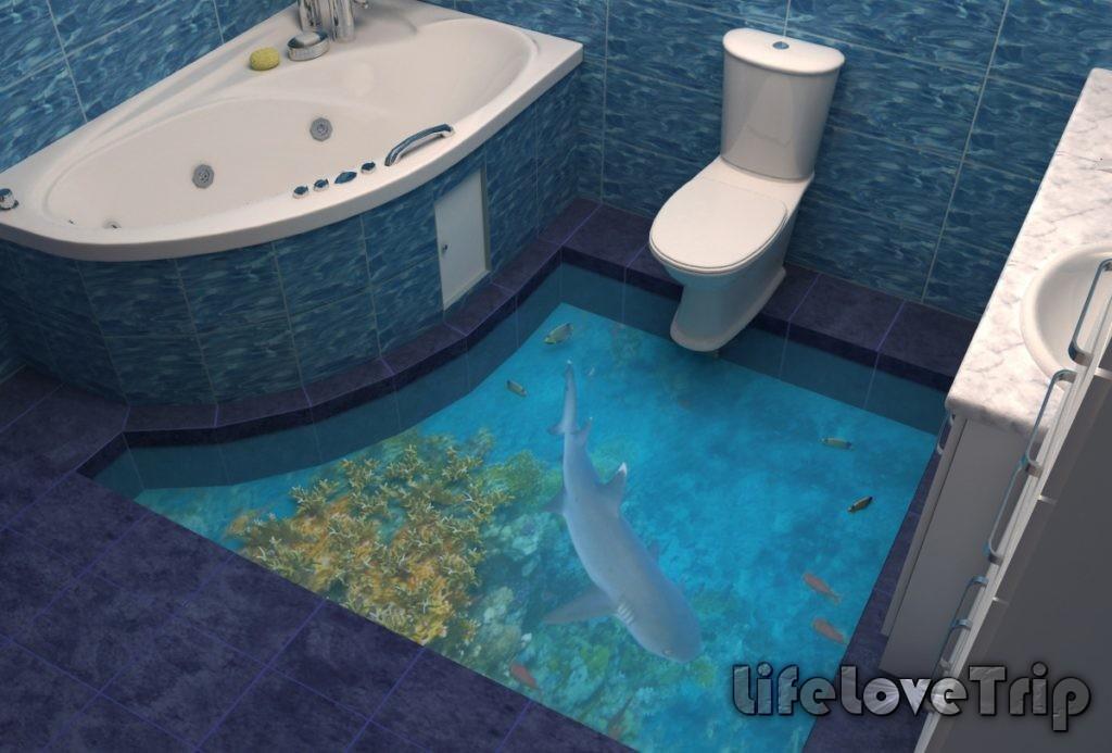 Наливной пол отлично смотрится в тесных ванных комнатах.
