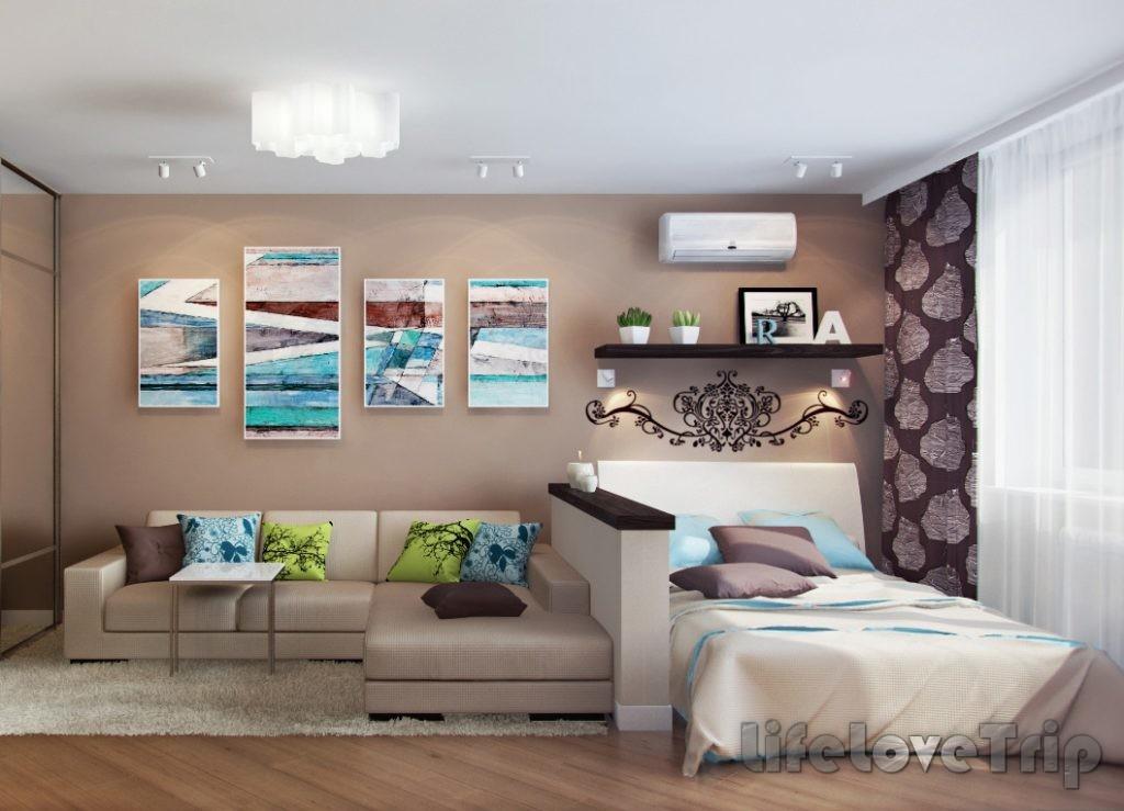 Выделение зон в маленькой гостиной повысит функционал помещения.